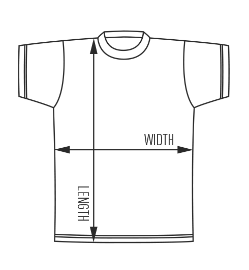 Diagram for t-shirt sizes