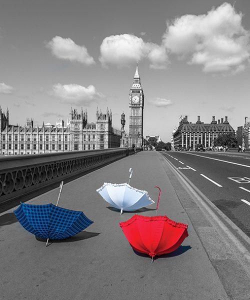 Colourful umbrellas on Westminster Bridge , London, UK