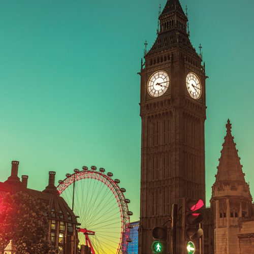 View of Big Ben from street, London, UK